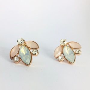 New! Pastel Pink & Blue Crystal Stud Earrings